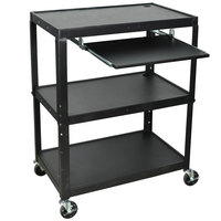 Luxor / H. Wilson AVJ42XLKB Adjustable Height 3 Shelf Black A/V Cart with Keyboard Shelf