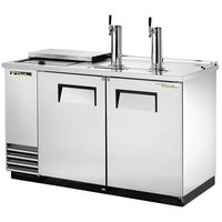 True TDD-2CT-S 59 inch Stainless Steel Two Keg Club Top Kegerator Beer Dispenser with Two Taps