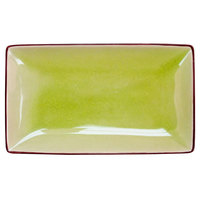 CAC 666-34-G Japanese Style 8 1/2 inch x 5 1/2 inch Rectangular China Plate - Black Non-Glare Glaze / Golden Green - 24/Case