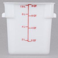 Carlisle 1073302 8 Qt. White Square Carlisle StorPlus Container