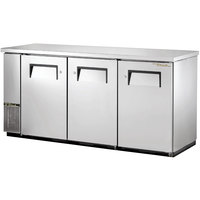 True TBB-24-72-S 73 inch Stainless Steel Back Bar Refrigerator with Solid Doors - 24 inch Deep