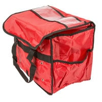 American Metalcraft PBSB1512 15 inch x 9 inch x 12 inch Red Deluxe Insulated Nylon Sandwich Delivery Bag