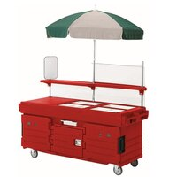 Cambro CamKiosk KVC854U158 Hot Red Vending Cart with 4 Pan Wells and Umbrella