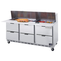 Beverage-Air SPED72-08C-6 72 inch Six Drawer Refrigerated Salad / Sandwich Prep Table with Cutting Board Top