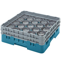 Cambro 20S434414 Camrack 5 1/4 inch High Teal 20 Compartment Glass Rack