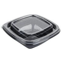 Sabert C95008TR250 Bowl2 8 oz. Black PETE Square Tamper Evident Bowl with Lid - 250 / Case