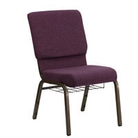 Plum 18 1/2 inch Wide Church Chair with Communion Cup Book Rack - Gold Vein Frame