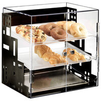 Cal-Mil 1623-13 Squared Three Tier Black Display Case with Front Doors - 19 inch x 16 inch x 19 inch