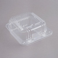 """Durable Packaging PXT-505 Duralock 5"""" x 5"""" x 2 1/2"""" Clear Hinged Lid Plastic Container   - 500/Case"""