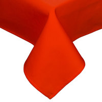 54 inch x 96 inch Orange Hemmed Polyspun Cloth Table Cover