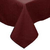 64 inch x 64 inch Burgundy 100% Polyester Hemmed Cloth Table Cover