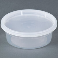 8 oz. Microwavable Translucent Plastic Deli Container with Lid - 240 / Case