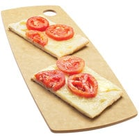 Cal-Mil 1531-616-14 Natural Wooden Round Edge Rectangle Flat Bread Serving Board - 16 inch x 6 inch x 1/4 inch