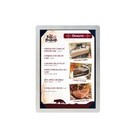 5 inch x 7 inch Menu Solutions ALSIN57-PIX Single Panel Brushed Aluminum Menu Board with Picture Corners