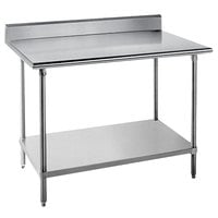 """Advance Tabco KAG-364 36"""" x 48"""" 16 Gauge Stainless Steel Commercial Work Table with 5"""" Backsplash and Galvanized Undershelf"""