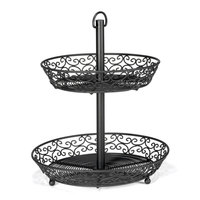 Tablecraft BKT2A Mediterranean Two Tier Black Display Basket - 12 inch