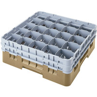 Cambro 25S318184 Camrack 3 5/8 inch High Beige 25 Compartment Glass Rack