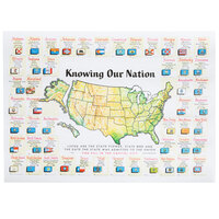 Hoffmaster 702042 10 inch x 14 inch Knowing Our Nation Paper Placemat - 1000 / Case