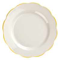 CAC SC-16G Seville 10 3/4 inch Ivory (American White) Scalloped Edge China Plate with Gold Band - 12/Case