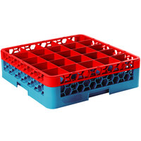Carlisle RG25-1C410 OptiClean 25 Compartment Glass Rack with 1 Color-Coded Extender - Red / Carlisle Blue