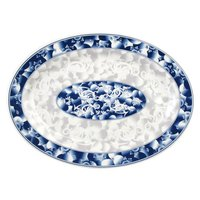 Blue Dragon 16 inch x 11 5/8 inch Oval Melamine Platter - 12/Pack