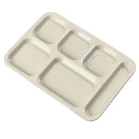 Carlisle 4398825 Tan 10 inch x 14 inch Heavy Weight Melamine Right Hand 6 Compartment Tray