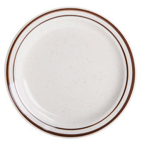 Brown Speckle Narrow Rim 7 1/8 inch China Plate - 36/Case