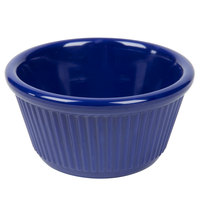 4 oz. Navy Blue Fluted Melamine Ramekin - 12/Pack