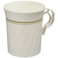 WNA Comet CWM8192IPREM 8 oz. Ivory Plastic Masterpiece Coffee Cup with Gold Accents - 8/Pack