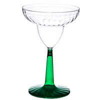 Fineline Flairware 2312-GRN 12 oz. Margarita Plastic Glass With Green Base - 2 Piece 12 / Pack