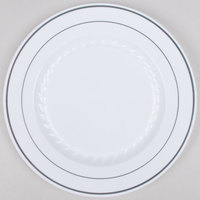 Fineline Silver Splendor 509-WH 9 inch White Plastic Plate with Silver Bands - 120 / Case
