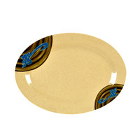 Wei 9 7/8 inch x 7 1/4 inch Oval Melamine Platter - 12 / Pack