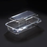 Dart Solo C35UT1 StayLock 9 inch x 5 3/8 inch x 3 1/2 inch Clear Hinged Plastic 9 inch Medium Oblong Container - 250 / Case