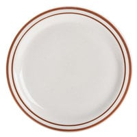Brown Speckle Narrow Rim 9 3/4 inch China Plate   - 24/Case