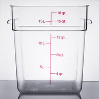 Cambro 18SFSCW135 CamSquare 18 Qt. Clear Food Storage Container with Winter Rose Graduations