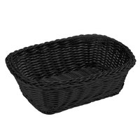 Tablecraft M2485 Black Rectangular Rattan Basket 11 1/2 inch x 8 1/2 inch x 3 1/2 inch - 6/Pack
