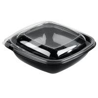 Sabert C98032TR150 Bowl2 32 oz. Black PETE Square Tamper Evident Bowl with Lid - 150 / Case