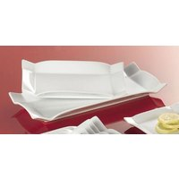 CAC TMS-12 Times Square 9 inch x 5 1/4 inch Bright White China Rectangular Platter - 24/Case