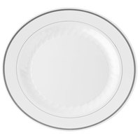 WNA Comet MP9WSLVR 9 inch White Masterpiece Plate with Silver Accent Bands 12 / Pack