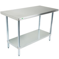 Regency 30 inch x 48 inch 18-Gauge 304 Stainless Steel Commercial Work Table with Galvanized Legs and Undershelf