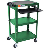 Luxor / H. Wilson AVJ42KB-GN Green Mobile Computer Cart / Workstation 24 inch x 18 inch with Keyboard Shelf