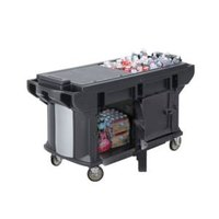 Cambro VBRUT5110 Black 5' Versa Ultra Work Table with Storage and Standard Casters