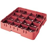 Cambro 16S418163 Camrack 4 1/2 inch High Red 16 Compartment Glass Rack