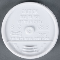 Dart Solo 16UL White Plastic Sip Thru Lid - 100/Pack