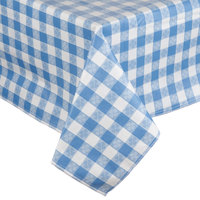 Blue-Checkered Vinyl Table Cover with Flannel Back - 25 Yard Roll