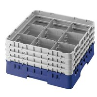 Cambro 9S958168 Blue Camrack 9 Compartment 10 1/8 inch Glass Rack