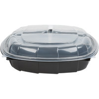 10 inch x 10 inch x 3 inch Large 3 Compartment Microwaveable Plastic Hinged Take-Out Container   - 148/Case