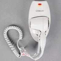 Conair 136W Mini Turbo White Wall Mount Direct Wire Hair Dryer with Nightlight - 1600W