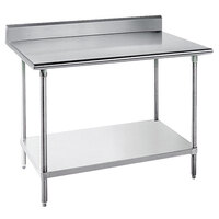 Advance Tabco KLG-244 24 inch x 48 inch 14 Gauge Work Table with Galvanized Undershelf and 5 inch Backsplash