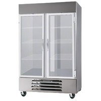 Beverage Air HBR49-1-G-LED Two Glass Door Bottom Mount Reach In Refrigerator - 49 Cu. Ft.